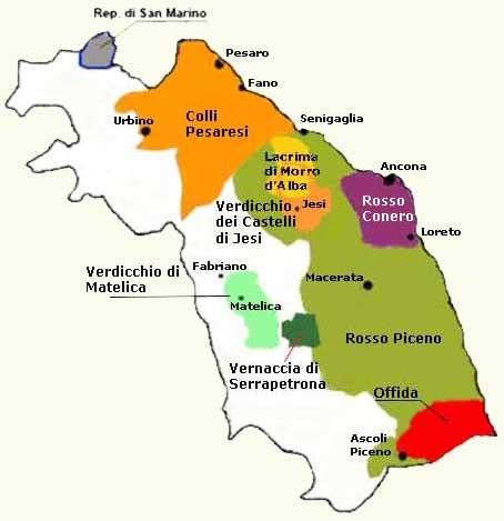 Cartina Politica Regione Marche.Enogastronomia Nazionale Marche